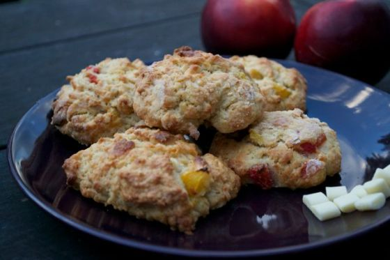 white chocolate nectarine tinned peach scones