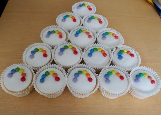 Smarties rainbow cupcakes