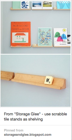 scrabble tile shelf